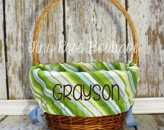 Personalized Easter Basket Liner - Green and Blue Stripe
