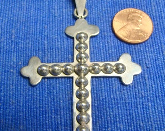 Vintage Large Sterling Silver Cross Pendant 928 Mexico TP-10