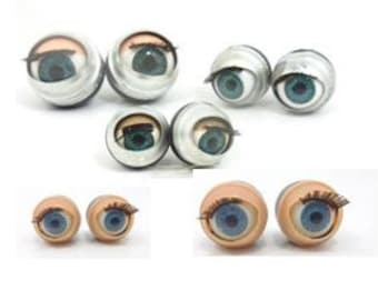 30 pairs 60 pcs. doll sleepy blinking blue eyes 14-24mm plastic and metal