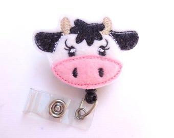 Badge Reel ID Holder Retractable - Happy Heifer - White pink felt cow - nurse badge reel medical staff farmer farm veterinarian
