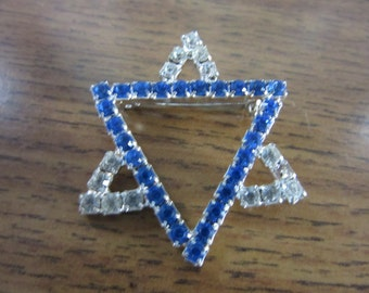 """STAR of DAVID 1 1/2"""" PIN, Sapphire and Crystal pronged Rhinestones, vintage 1950, exquisite, Finished Jewelry"""