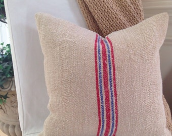 French Grain Sack Pillow  French Farmhouse Pillow Grain Sack Pillow Blue and Red Grain Sack Ticking pillow Grain Sack Pillow Cover
