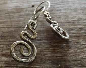 Rustic Spiral Earrings, Oxidised Sterling Silver Spiral Earrings,  Modern Spiral Earrings on Etsy