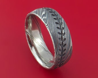 Kuro Damascus Steel Baseball Stitch Ring with Tumble Finish