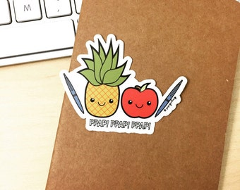 Pen Pineapple Apple Pen Vinyl Sticker, die cut sticker