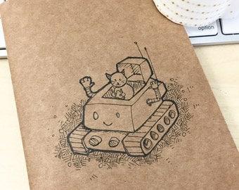 NEW! Hand Drawn Kitty Robot Notebook