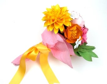 BOUQUET-TO-GO The Evelyn - Mix Paper Flowers on stems - Customize your Style and Colors - Made To Order
