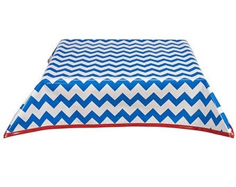 48x48 Chevron Blue Oilcloth Tablecloth with Solid Red Trim
