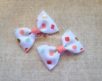 Coral, white, aqua and gold...Pigtail Mini Bows