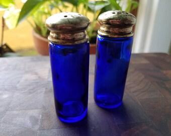 Cobalt Glass Vintage Salt and Pepper Shakers Blue