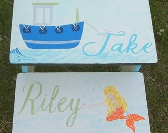 Whales,Mermaids, Boats, Nautical Step Stool, PBK,  Under the Sea, Bathroom Stool, Personalized, Bedroom, Bench