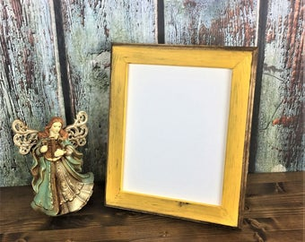 8 x 10 Picture Frame, Yellow Rustic Weathered Style With Routed Edges, Wooden Frame, Rustic Home Decor, Home Decor, Rustic Frames, Rustic