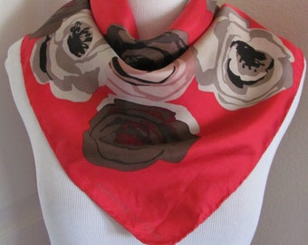 """Lovely Red Floral Silk Scarf // 20"""" Inch 50cm Square // Best of the Best"""
