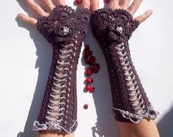 CROCHET GLOVES CUFFS / Victorian Fingerless Summer Women Wedding Lace Evening Retro Accessories Bridal Party Coral Corset Boho Cotton B25