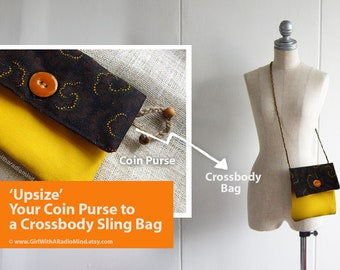 Crossbody Bag or Purse - Wallet Yellow Coin Purse with Black Whimsical Polka Dot - Honey Yellow OR Brown Corduroy Bottom