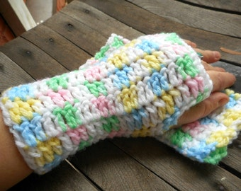 The Candy Ice Children's Fingerless Gloves. Arm Warmers Handmade Crochet  Hand Crocheted fall autumn winter accessory Easter Gloves. girls