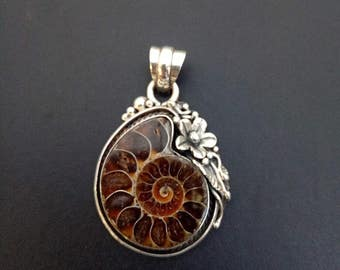 Handmade Sterling Silver and Ammonite Fossil Statement Pendant - Unique Ammonite and Sterling Silver Pendant - Boho Style Statement Pendant