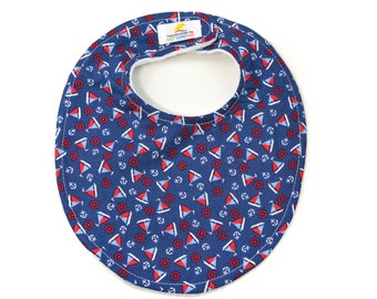 Sailboats Boutique Bib - New Baby Gift, Personalized Baby Gift, New Baby Boy