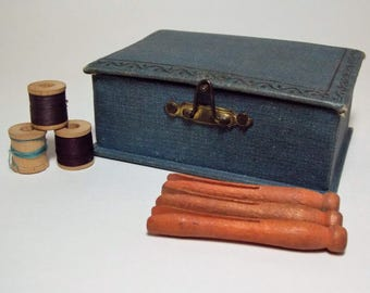 Little Blue Vintage Travel Sewing Box with Small Spools and Cothes Pins