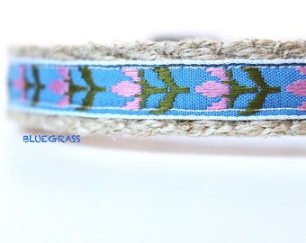 Floral Dog Collar, Pink Dog Collar, Narrow Dog Collar, Girl Dog Collar, Tulip Dog Collar