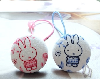 Girl Hair Accessories,Big Hair Tie Button Ponytail Holders-Fairy Tale Nordic Blue Pink Dots Check Miffy Bunny (1PCS, Choose Color)