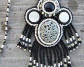 Dalmation Jasper, Black Onyx, Mother of Pearl Bead Embroidered Necklace
