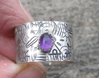Sterling Silver Ring Amethyst Ring Size 9 Ring Wide Ring Band