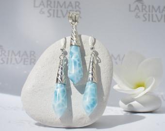 Larimar set by Larimarandsilver, Mermaid Bling 2 - aqua Larimar drops, turtleback, blue topaz drops, handmade Larimar pendant and earrings