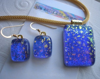 Dichroic Glass Pendant and Earrings Set Starry Sky 14K Gold Earwires Fused Glass Jewelry Matching Deep Blue Gold Stars Iridescent Art Glass
