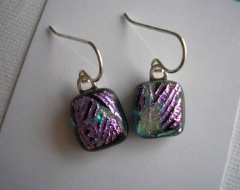 Earrings Petite Dichroic Glass Black with Pink Accent Lines Fused Glass Jewelry Small Earrings Lightweight Sterling Earwires Dangles Dichro