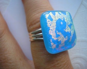 Adjustable Ring Dichroic Glass Blue Sky Golden Clouds Square Cabochon Silver Ring Back Kiln Fused Glass Blue Jewelry Blue Gold Ring Dichro