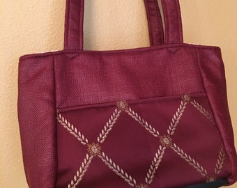 Florence #1761  Burgundy Bag, Knitting Bag, Small Knitting Bag, Small Project Tote, Knitting Project Tote, Totes, Bags, Purses, Sewing Bags