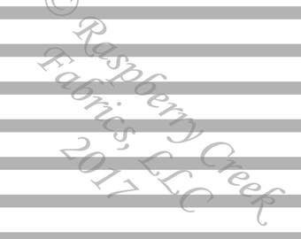 Light Grey and White Stripe 4 Way Stretch Jersey Knit Fabric, Club Fabrics