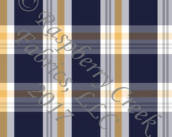 Navy Mustard and White Plaid 4 Way Stretch Jersey Knit Fabric, By Gwyneth LaSpina for Club Fabrics