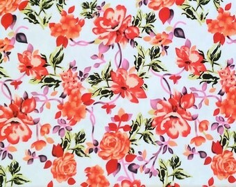 Coral PInk Green and White Floral Brushed Poly Spandex Knit, 1 Yard
