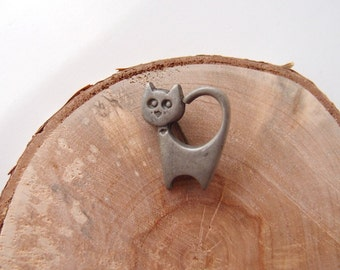 vintage Pewter Cat pin R. Tennesmed Sweden Modernist Mid Century kitty brooch