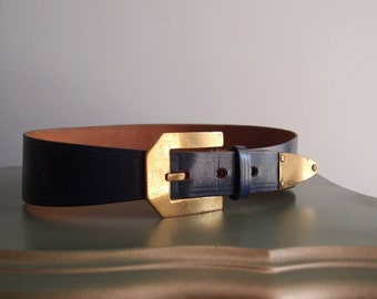 1950s Navy Blue Leather Cinch Belt by Roger Van S fits 24 to 26