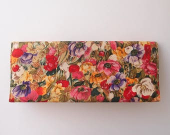 Wildflower Fields 1960s floral clutch purse / elongated colorful satin frame bag structured handbag