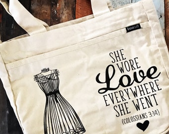 she wore love everywhere she went tote bag