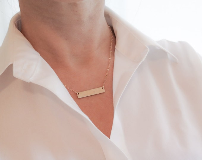 Double Sided Gold Bar Necklace - 14k Gold Fill - Thick Reversible Hand Stamped Jewelry - Layering Necklace by Betsy Farmer Designs