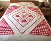 Vintage Chenille Bedspread Red Cherries Retro Cherry Queen Full Rockabilly Red White