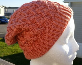 Fashionable Hand Knit Cafe Au Lait Tam in Coral, Hat, Slouch, Beanie, Knitted Winter Hat, Durable Knit, Warm and Cozy