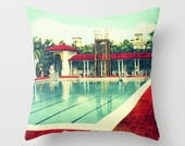 Art Pillow Cover 18x18 Red Aqua Pillow, Swimming Pool Decorative Pillows For Couch. Art Throw Pillow, Red Aqua Throw Pillow Mid Century Art
