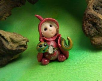 "Tiny 'Rhuwla' Snake Whisperer Gnome with coiled snake 1+1/2"" by Sculpture Artist Ann Galvin Art Doll"