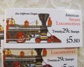 American Steam Locomotives 20 UNused Vintage US Postage Stamps Booklet 29c Trains Trainspotting Industrial Save the Date Wedding Postage