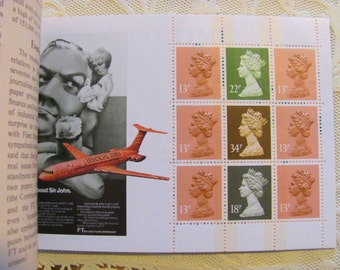Royal Rainbow 30 Vintage MNH Great Britain Postage Stamps 5 GBP Royal Mail Booklet Story of the Financial Times Machin UK Queen Elizabeth