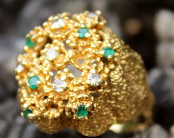 Vintage 18ct Gold Emerald Diamond Ring Jewellery Jewelry Old Ladies 9 Grams