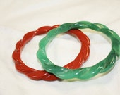 Green and Rust Red Vintage Bracelets, Bangles, Plastic
