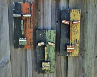 "Tiki Set ""SAFARI"", 3 PieceTiki Masks, Tiki Man, Primitive Wall Art, Wood Sculpture, Rustic Beach House"
