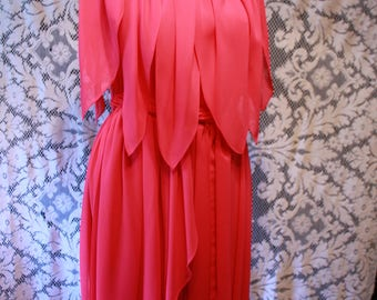 Fabulous Vintage 70s Pink Chiffon Layered Petal Dress Off Shoulder